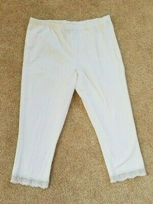 Faded Glory Girls White Capri Leggings with Lace, Size XL (14-16)