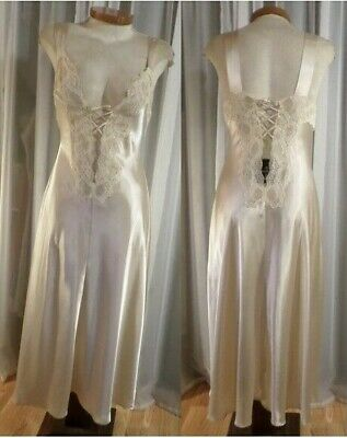 Victoria Secret XS Cream Long Nightgown Gown Lady Woman Lace Slit Ivory Off Whit