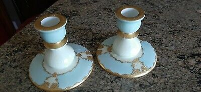 Antique Hand Painted Bavarian Porcelain Candlesticks
