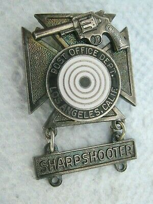 Post Office LOS ANGELES Badge POSTAL INSPECTION SERVICE Revolver SHARPSHOOTER