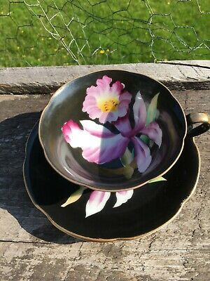 Occupied Japan Hand Painted Black Iris Floral Cup and Saucer