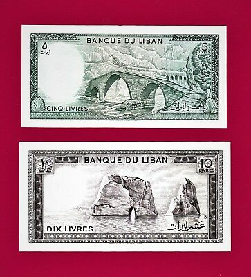 LOT of Two Lebanon UNCIRCULATED Notes 5 Livres (P62) & 10 Livres 1986 (P-63)1986