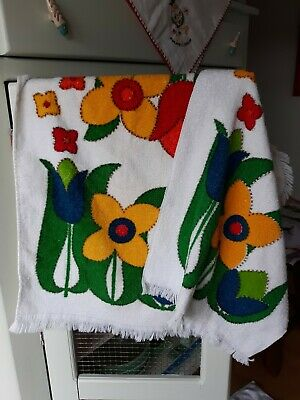 2 Vintage Retro  Kitchen TOWELS Terry Cloth Thick