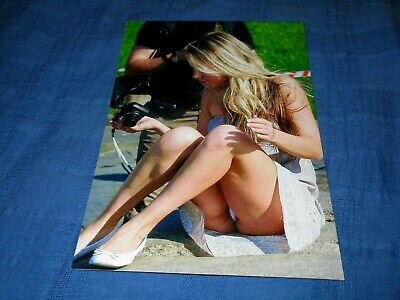 Pretty Blonde Model Sitting On Ground In Skirt-Nice Thighs-Open Legs-Photo