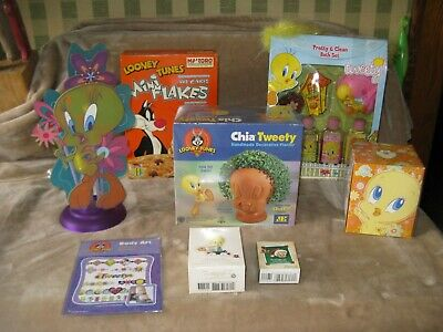 Vintage Looney Tunes Tweety Bird Collection Lamp-Jewelry-Chia-Bath Set-Body Art+