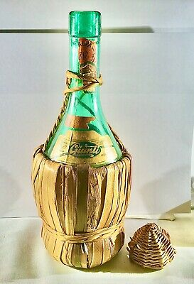 Vintage 1952 1 pint Wine Bottle In Wicker Wrap Italian Italy Green