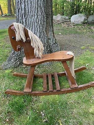 Child Deluxe Wooden Rocking Horse Amish Built Solid Wood Handmade