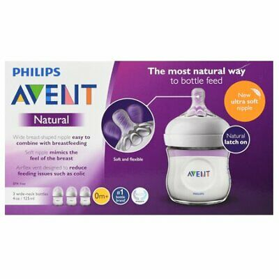 3 Philips Avent Natural Clear Baby Bottle, 4 oz NEW And 2 avent pacifiers