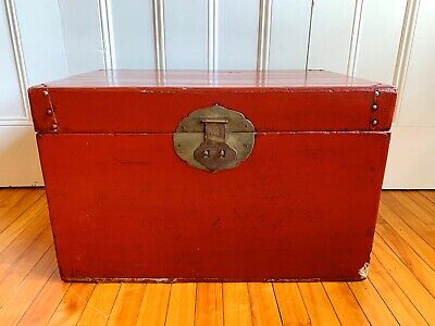Antique/Vintage Chinese Red Lacquer Wedding Trunk