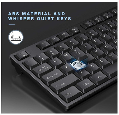 Wireless Keyboard and Mouse, Jelly Comb 2.4G Wireless Keyboard Mouse Full Size