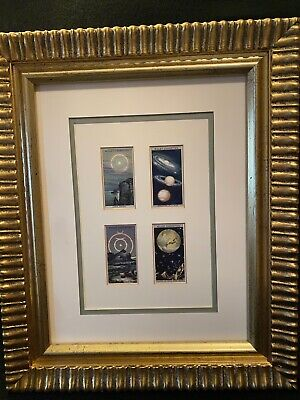 Vtg Wills's Cigarettes Romance of the Heavens 4 Tobacco Cards Framed Man Cave