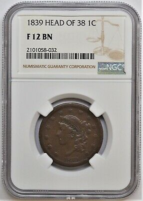 1839 Braided Hair Head Of 38 Large Cent 1C Ngc F 12 Bn