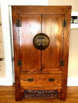Chinese Antique Hardwood Cabinet Armoire~SIGNED!