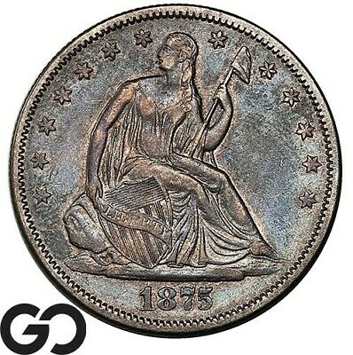 1875-S Seated Liberty Half Dollar, Choice XF+ Collector Silver 50c