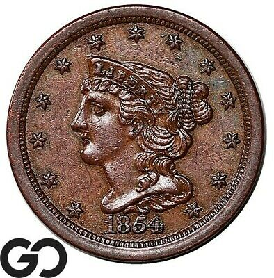1854 Half Cent, Braided Hair, Nice Choice AU+ Early Collector Copper