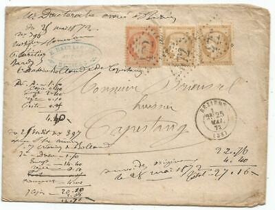 France Ceres 15Cx2+40C Lettre Cover Gc 472 Beziers 25 Mai 1872 Herault