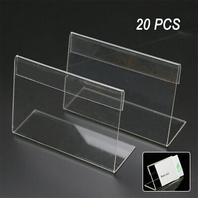 20Pcs Acrylic Sign Display Holder Label Price Name Card Tag Shop Stands Set Tool