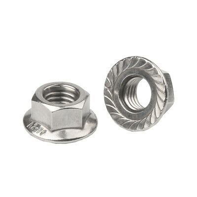 A2 Stainless Steel Flange Nuts to Fit Metric Bolts &Screw M3,M4,M5,M6,M8,M10,M12