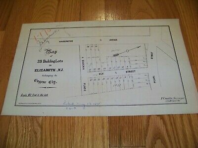 1872 Map Eugene Ely Elizabeth New Jersey F. Couette Ferdinand Mayer & Sons