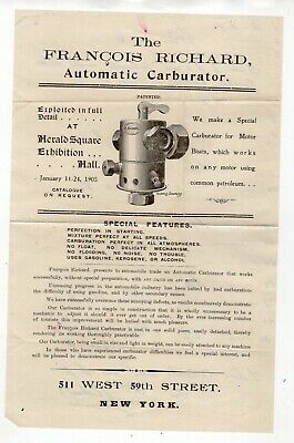 Early 1900 Advertisement The Francis Richard Carburator