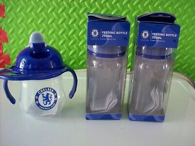 babys bottles x2 and 1x training mug chelsea
