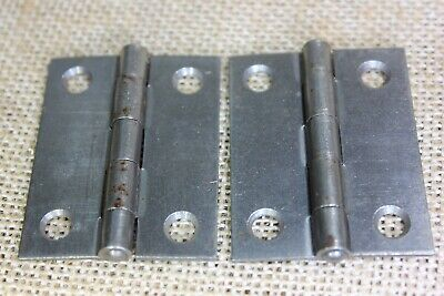 """2 old Cabinet door hinges small box shutter vintage steel 2 x 1 1/2"""" USA Made"""