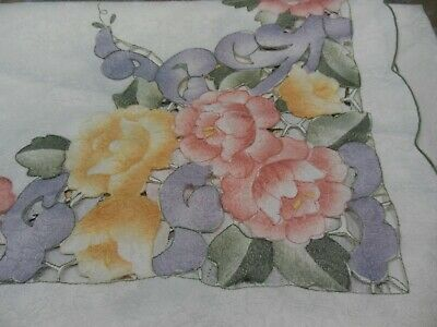 VINTAGE TABLE CLOTH BEAUTIFUL Pastel Floral Design w/Napkins Polyester