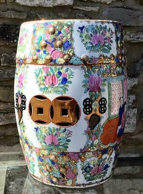 Large Old PORCELAIN CHINESE GARDEN SEAT Highly Decorated Ceramic Stool