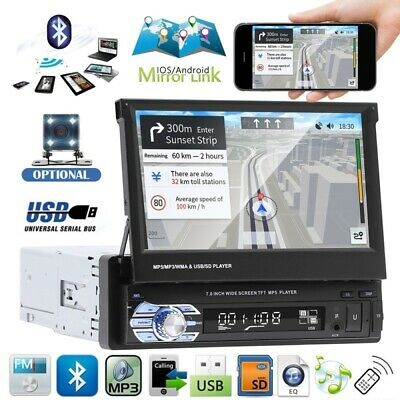 "7"" Touch Screen Car MP5 Stereo Radio Single 1 DIN Flip out Bluetooth + Camera"
