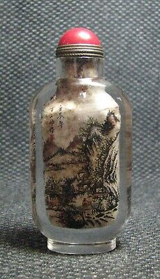 Chinese Exquisite Inside-drawing Scenery Glass Snuff Bottle-