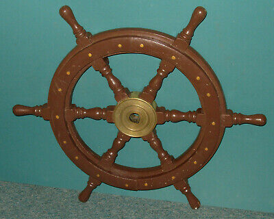 "Vintage Old 24"" Ship's Wheel - Wood and Brass"