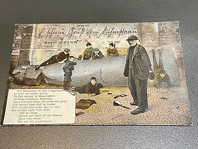 WW1 German Luxemburg Post Card Of Children Playing On Rubble
