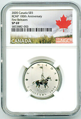 2020 $5 Canada Silver Ngc Sp69 Rcmp 100Th Anniversary First Releases