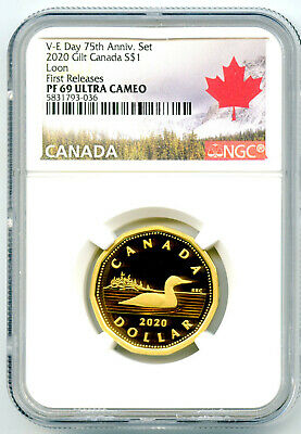 2020 Canada Silver Proof Loonie Dollar Ngc Pf69 Ucam Gilt Loon First Releases