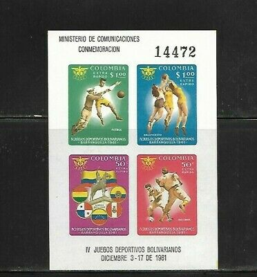 Colombia Scott # C419 S/S Sports Tournament Issued 1961 Cv 7.25