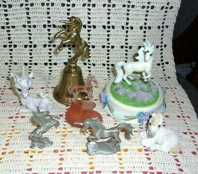 Lot 5 Unicorn Figurines & Brass Bell & 1 Horse Franklin Mint Spoontiques Pewter