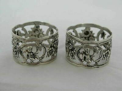 Pair of Vintage .835 Germany Silver Cherub Napkin Rings
