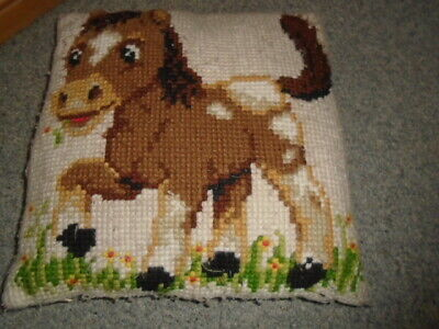 Cute cream and brown tapestry horse design cushion, great for childrens bedroom