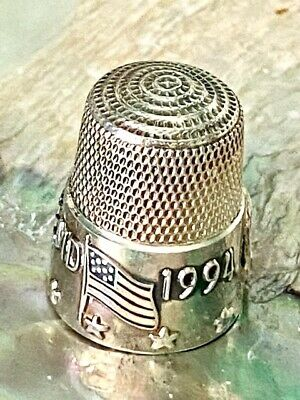 Sterling Silver Thimble Simons Bros Baltimore MD Flag and Stars 1994 TCI