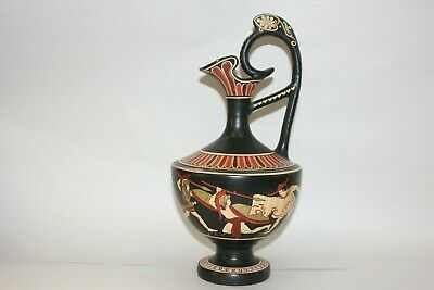 """Vintage Hand Made & Hand Painted Greek Pitcher w/ Classical Figures 11"""""""