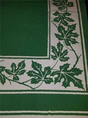 Vintage 52X46 Shabby Chic Farmhouse Kitchen Tablecloth White Green Leaves Vines