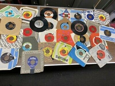 "Lot of 60s-70s Rock (27) Records 7"" Single 45 rpm Jukebox w/ Sleeves"
