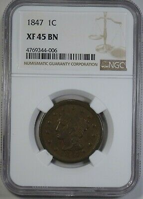 1847 Braided Hair Large Cent - NGC XF45