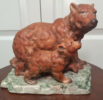 Porcelain Royal Crown Mother And Cub Brown Bear Group Figurine