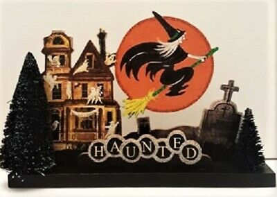 DIMENSIONAL - HAUNTED HOUSE, WITCH, MOON, GRAVES * Glitter HALLOWEEN DECORATION