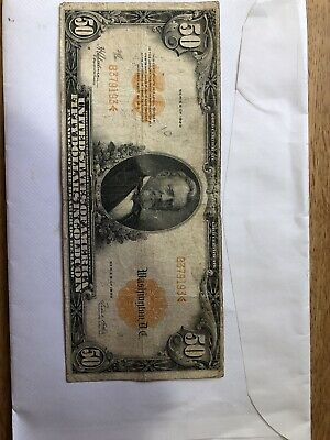 1922 Circulated Large Fifty Dollar $50 Gold Certificate