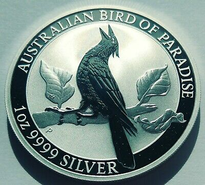 2019 AUSTRALIAN  Birds of Paradise Manucodia BU 1 oz silver coin in capsule.