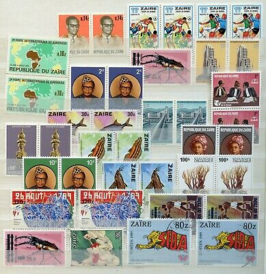 39 Old & Vintage Africa Postage Stamps Republic of Zaire MNH and Used
