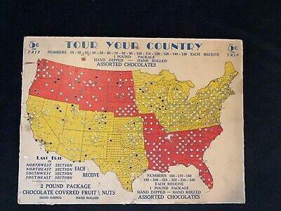 Rare Vtg Tour Your Country Assorted Chocolate US Road Map Interactive Board Game