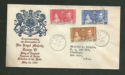St Christopher Nevis 1937 coronation first day cover with nice cachet - R5
